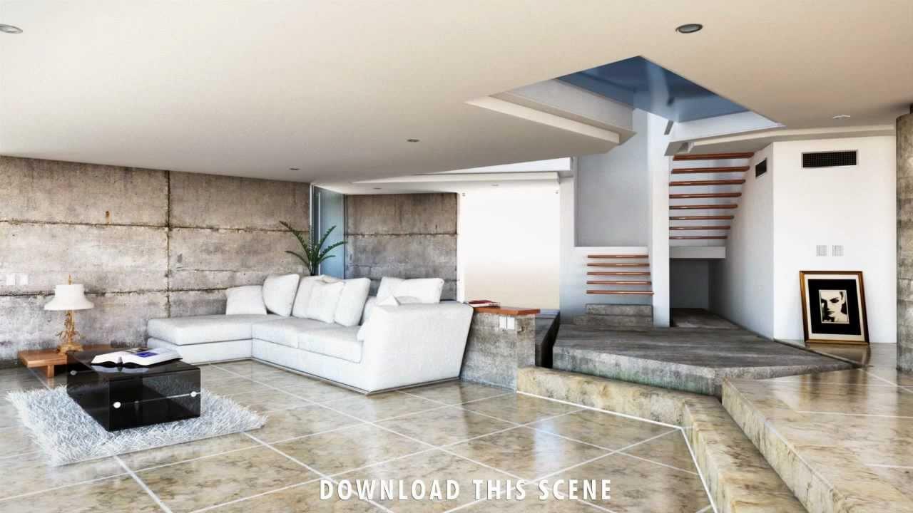 Modern House Mental Ray Interior Render Living Room, Render in Maya ...