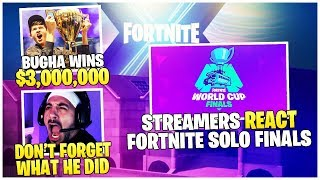 Streamers *REACT* To Fortnite Solo Finals | Bugha *WINS* $3,000,000 | Nickmercs Talks Nadeshot