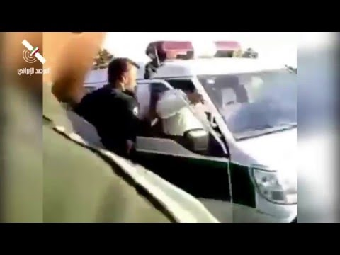 """Iranian Regime arresting a girl wearing a headscarf """"Hijab"""" and hitting her"""