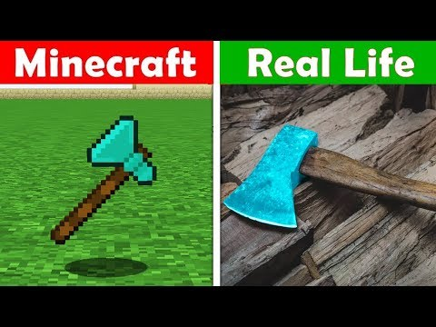 MINECRAFT DIAMOND AXE IN REAL LIFE! Minecraft vs Real Life animation CHALLENGE thumbnail