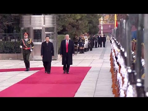 Xi, Trump inspect the guard of honor during welcome ceremony