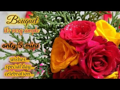 """How to string ''Rose Bouquet"""" l Colourful flowers Decorator l Gift l Wishes l Redrose l Yellow Roses"""