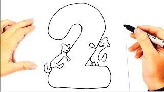 Cómo dibujar el Numero 2 paso a paso   Dibujo fácil del Numero 2