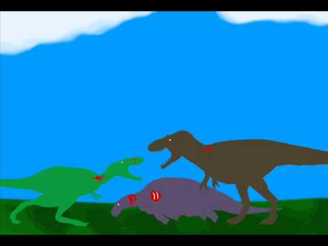 Prehistoric Art - Tyrannosaur Confrontation