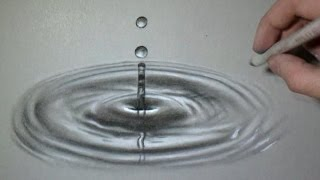 Fun Realistic Drawing - the impact of a drop on water