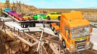 Breakable Bridge Traffic Jam #3 - Beamng drive