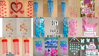 10 Amazing !!! DIY Paper Wall Hanging | Handmade Paper Craft Things | Wind Chime |parul pawar