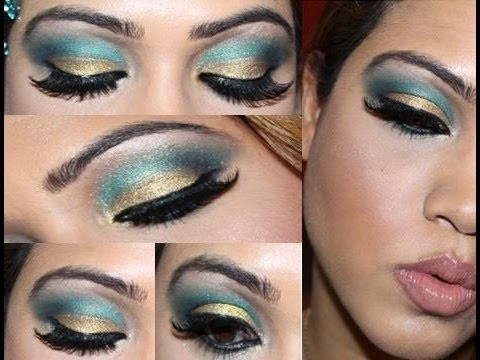 Gold and Turquoise Blue Cut Crease Makeup Tutorial - YouTube
