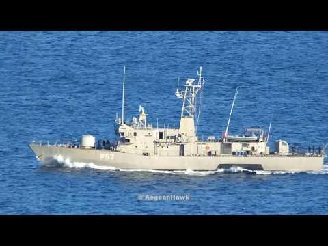 Hellenic Navy Gunboat P57 HS Kasos sailing Chios Strait in Aegean Sea.