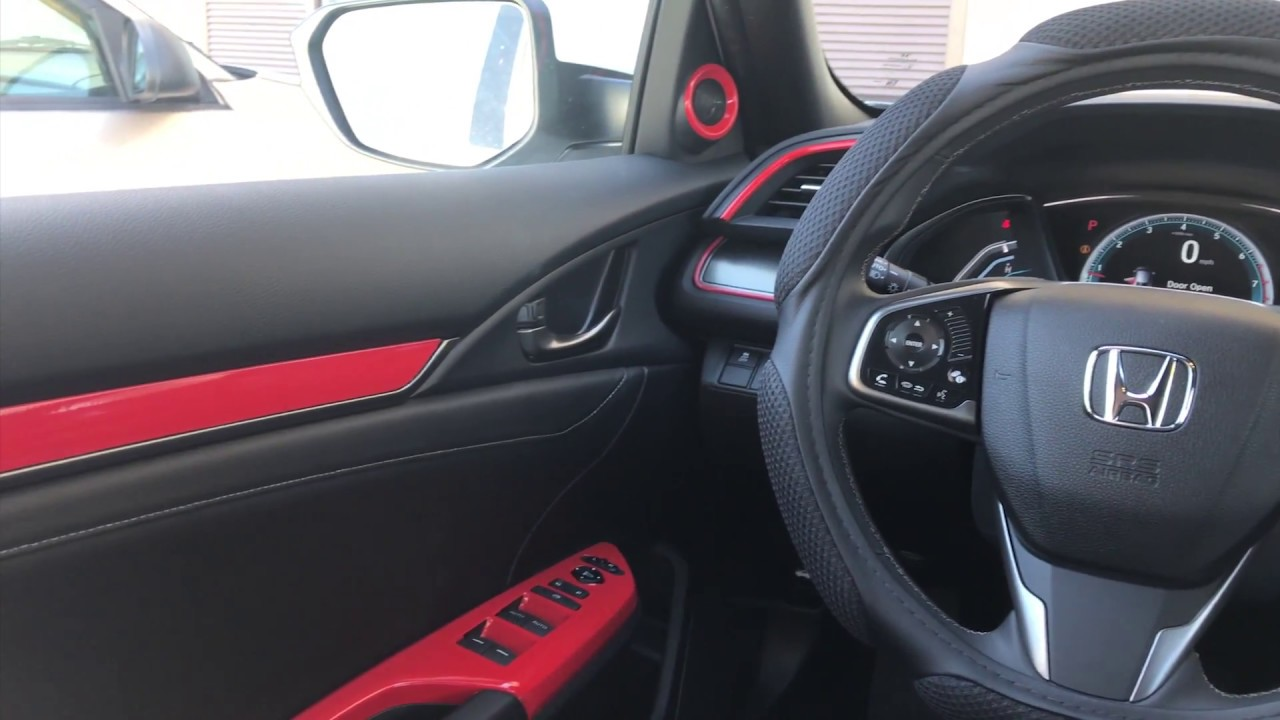 vinyl wrap interior of 2017 honda civic hatchback gloss red youtube. Black Bedroom Furniture Sets. Home Design Ideas