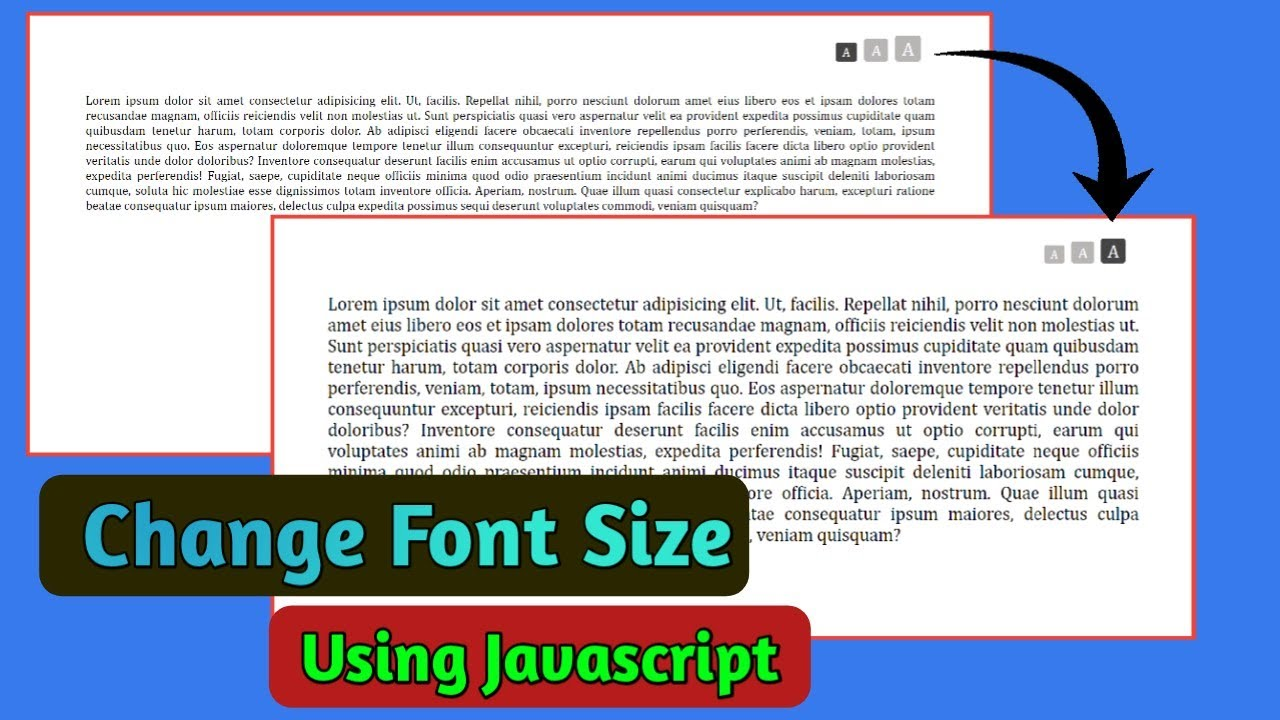 Change Font-size using Javascript with Button   Increase Decrease Font Size on Website