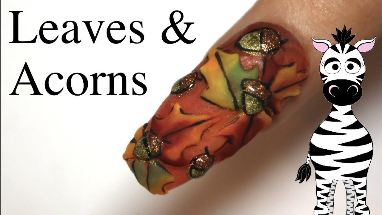 3d Leaves And Acorns Acrylic Nail Art Tutorial Youtube
