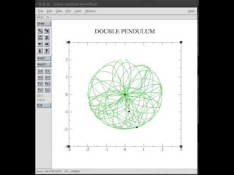 Double Pendulum Physics Simulation using Fortran and Grace...