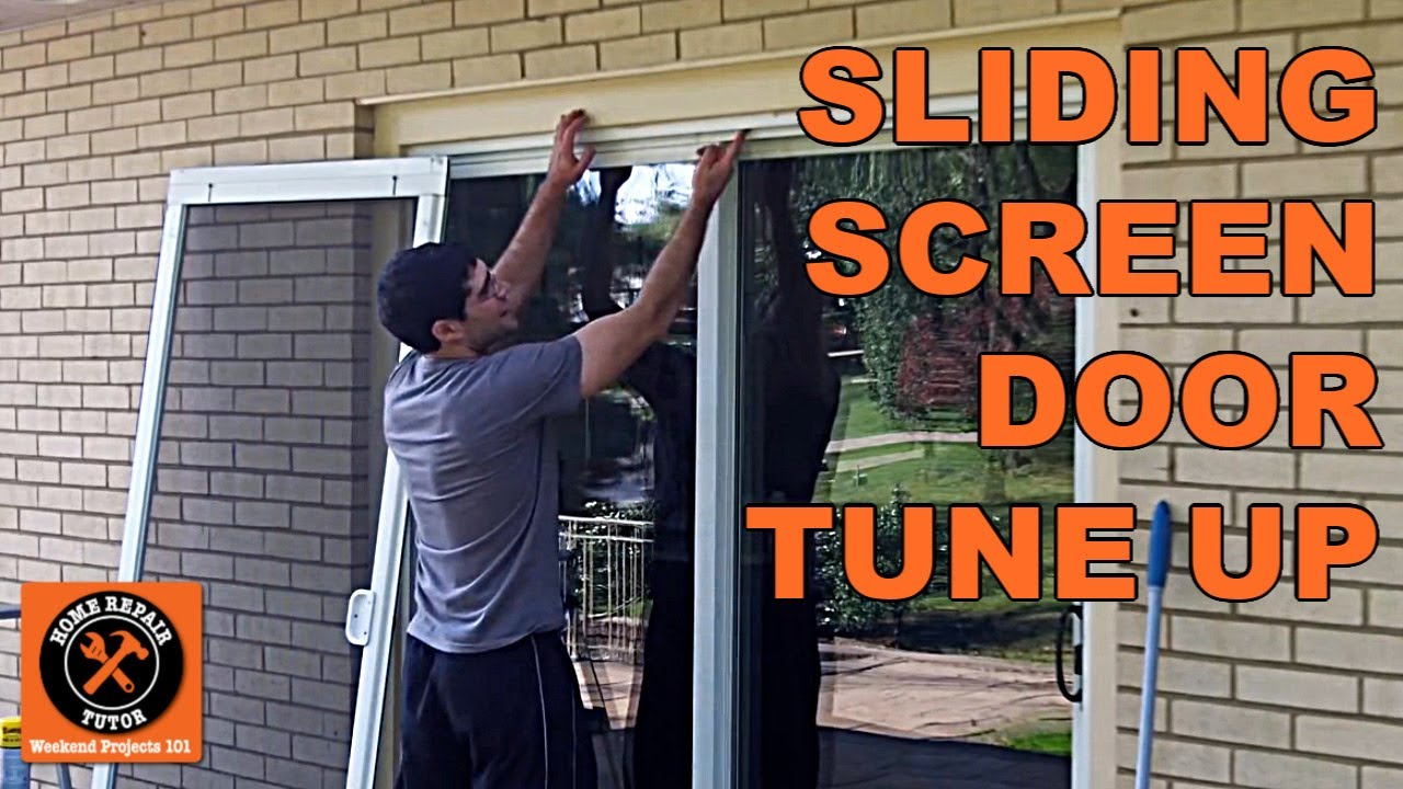 Sliding screen door tune up by home repair tutor youtube for Replacement sliding patio screen door