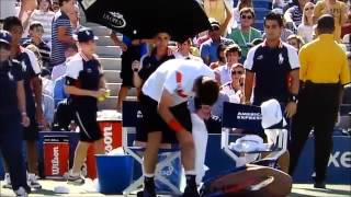 Andy Murray Crashes Out US Open 2013 Stanislas Wawrinka and Racket Broke