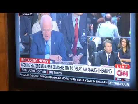 Kavanaugh Hearing interrupted By Protestors As Senator John Cronyn Speaks