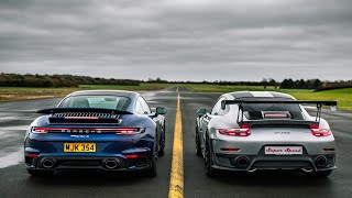 DRAG RACE!! PORSCHE 992 TURBO S vs 991 GT2 RS