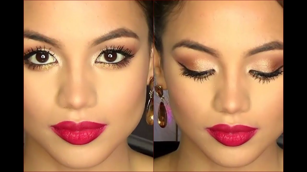 holiday party makeup champagne gold eyes matte bold lip full face tutorial youtube. Black Bedroom Furniture Sets. Home Design Ideas