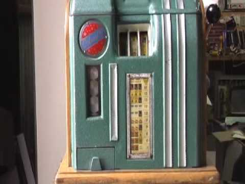 Columbia 5 cent Slot Machine with Original Shipping Crate
