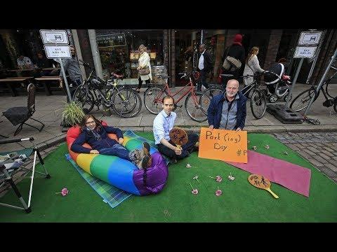 Parking Day in Hamburg: Radfahrer besetzen Parkplätze in Ottensen und Eimsbüttel