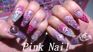 [Nail]셀프네일 하이틴st,,키치네일,핑크네일 넘 …