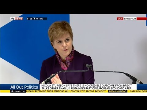 World News: NICOLA STURGEON SAYS THERE IS NO CREDIBLE OUTCOME FROM BREXIT TALKS OTHER