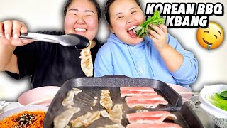 KOREAN BBQ PORK BELLY WRAPS AT HOME + FIRE NOODLES (COOKING + EATING) MUKBANG 먹방 EATING SHOW