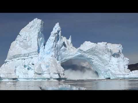 iceberg crashing in Diskobay, Greenland