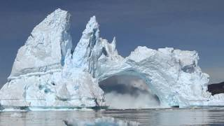 iceberg crashing in Diskobay, Greenland