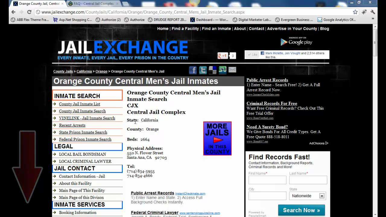 Orange County Inmate Search Orange County California Jail Youtube