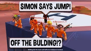 Roblox Jailbreak CRAZIEST SIMON SAYS EVER | $10 ROBUX CARD PRIZE | Jailbreak Hide And Seek