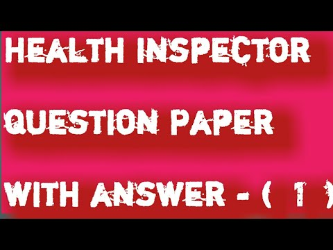 Health Sanitary Inspector Paper With Answer 1