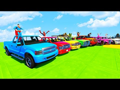 LEARN COLORS PICKUP TRUCK w/ SUPERHEROES FUN Animation for Children and Babies