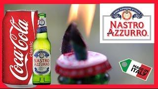 Oil Lamp beer bottle Peroni Nastro Azzurro Coke can ♻