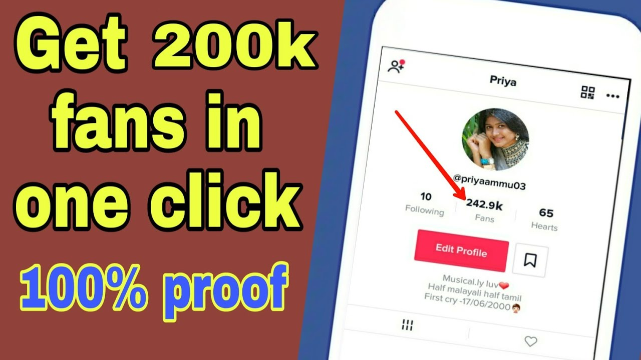 Get 200k fans in one click on tiktok musically in hindi/urdu free|| free  tiktok auto fans generator