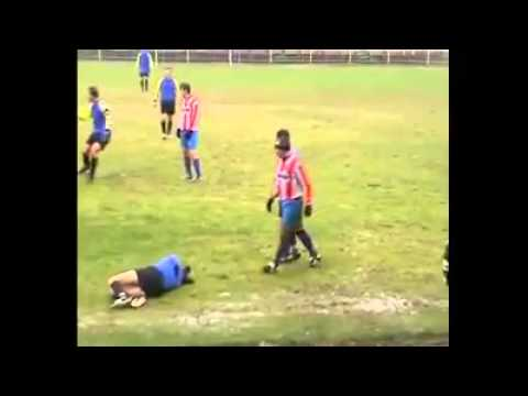 the worst football foul you will ever see sunday league