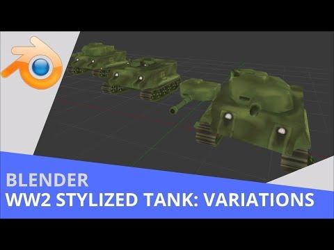 Blender - 3D Stylized WW2 Tank - Broken Variations