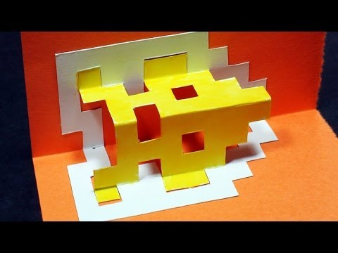 How To Make An INVADER Pop Up Card FREE Template