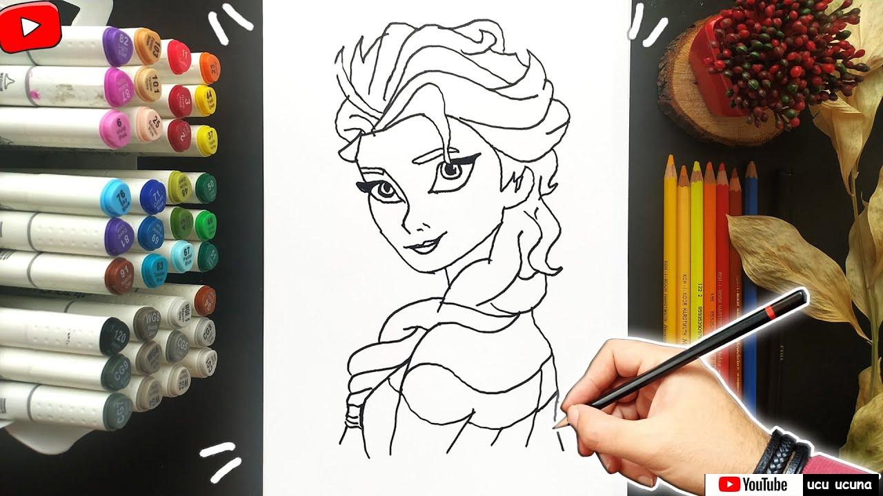 Elsa Çizimi l Nasıl Çizilir Frozen Elsa