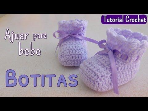 Ajuar  zapatito para bebe en punto espuma de mar - YouTube 474320b8660