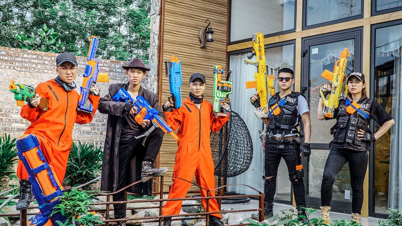 LTT Nerf War : SEAL X Warriors Sniper Agent Nerf Guns Fight Crime Dr Ken Crazy Bandits Diamond