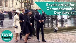 Prince Harry, William, Kate and Meghan Markle arrive for Commonwealth Day Service