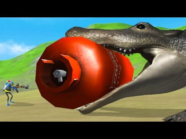 GIANT ALLIGATOR vs GIANT RED TANK - Amazing Frog Part 185 | Pungence