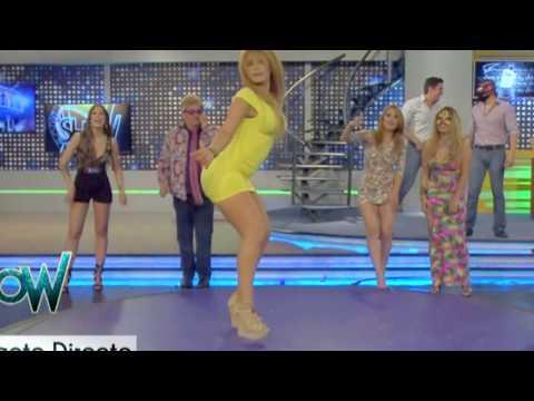 Anel bailando Muy Sexy en Minivestido Amarillo del programa Es Show