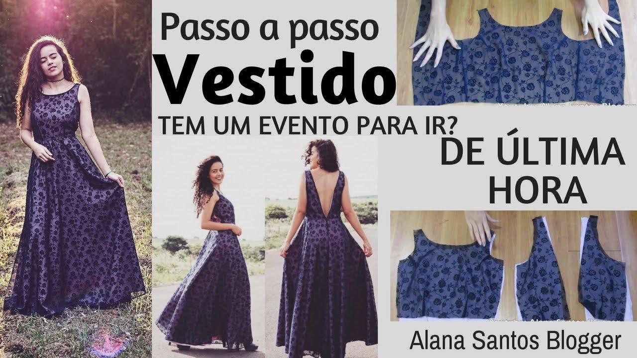 3f0b6fb39 Aula Costurando vestido de festa longo godê (RÁPIDO E MARAVILHOSO) Alana  Santos Blogger