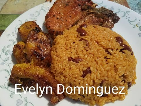 Rice With Beans Pork Chop And Plantains