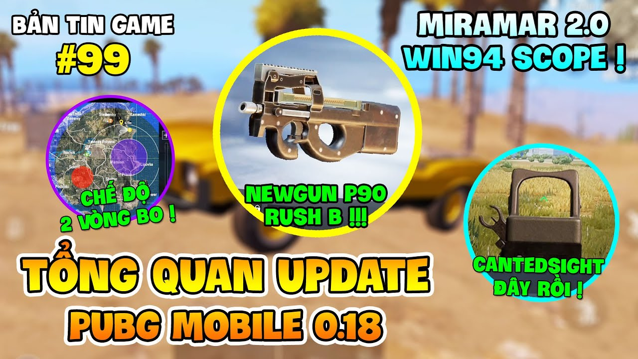TỔNG QUAN PUBG MOBILE UPDATE 0.18: P90 RA MẮT, WIN94 SCOPE, CANTEDSIGHT CÓ MẶT !