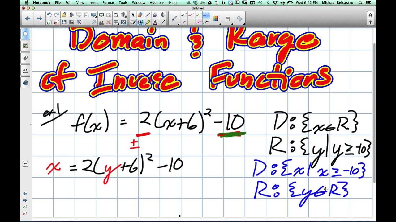 domain and range of inverse functions grade 11 university. Black Bedroom Furniture Sets. Home Design Ideas