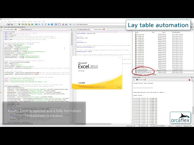 Lay table automation using OrcaFlex