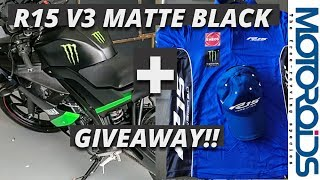 Yamaha R15 V3 Matte Black Monster Energy Edition Spotted in India + GiveAway!!